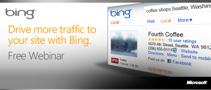 Bing - $75 in FREE Search Advertising FREE AD Coupon / Credits BingWebmaster_AquisitionWebinar_RegPageHeader_noArrows_700x300_Final